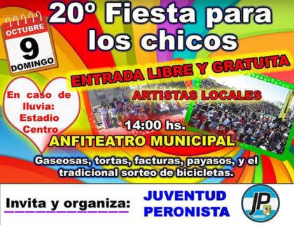 """Juventud Peronista: La """"Fiesta para los Chicos"""" se realizará el próximo domingo 9"""
