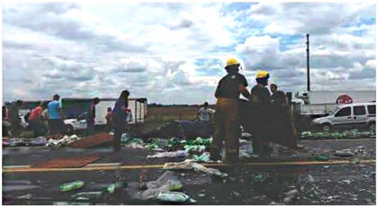 Camión de Bragado chocó y derramó carga en Ruta 5: Los transeúntes saquearon la mercadería