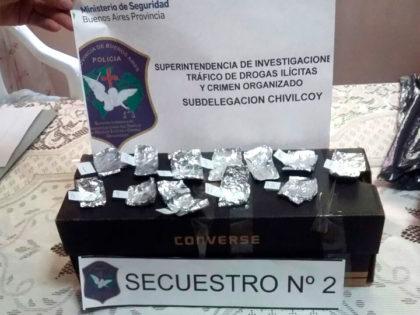 Arrojan desde un auto una caja con 19 envoltorios de cocaína y 12 de una sustancia no determinada todavía