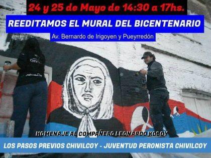 Restauraran el Mural del Bicentenario en Homenaje a Leonardo Kosoy