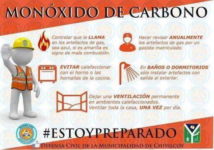Recomendaciones para prevenir intoxicaciones por inhalación de monóxido de carbono