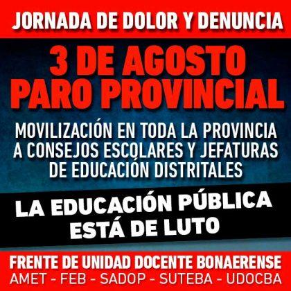 El Frente de Unidad Docente Bonaerense convoca a un paro provincial para mañana por la tragedia de Moreno